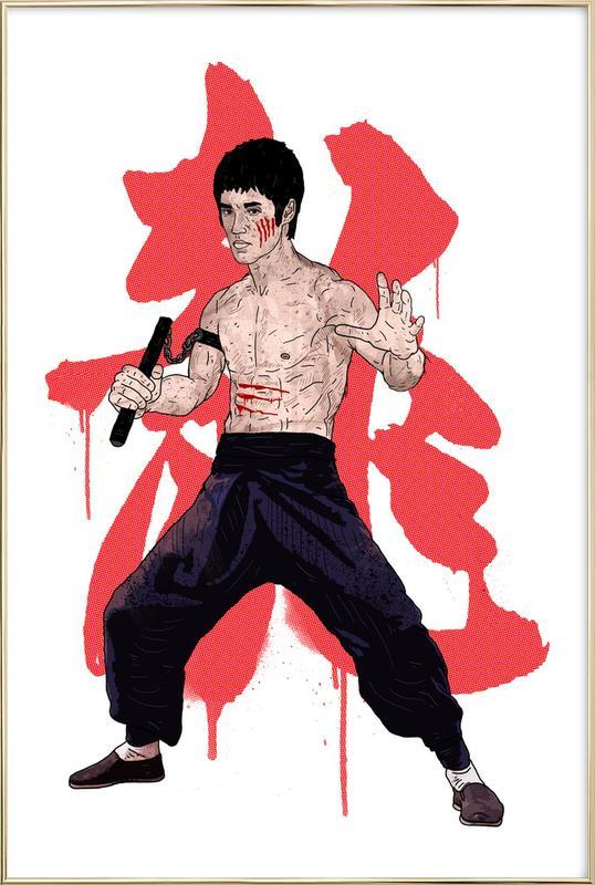 Bruce Lee -Poster im Alurahmen
