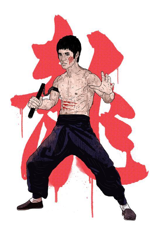 Bruce Lee tableau en verre