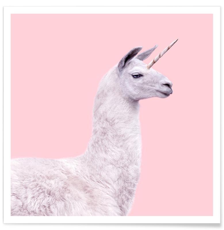 Børneværelse & kunst for børn, Pop art, Lama, Humor, Enhjørninger, Llama Unicorn Plakat