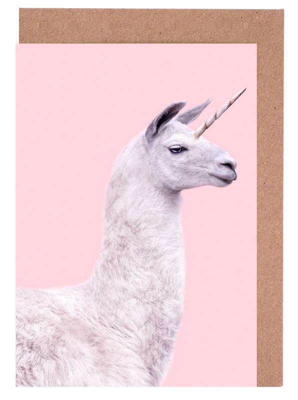 Pop Art, Lama, Einhörner, Lustig, Kinderzimmer & Kunst für Kinder, Llama Unicorn -Grußkarten-Set