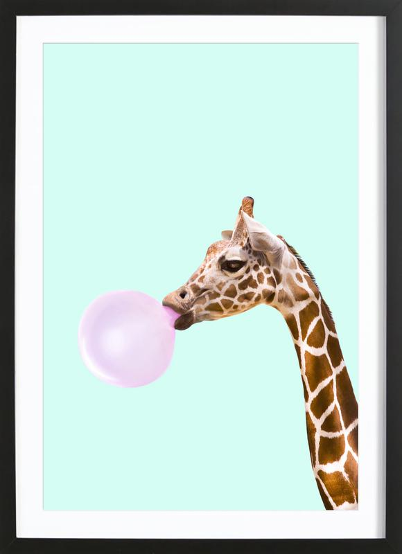Giraffe -Bild mit Holzrahmen