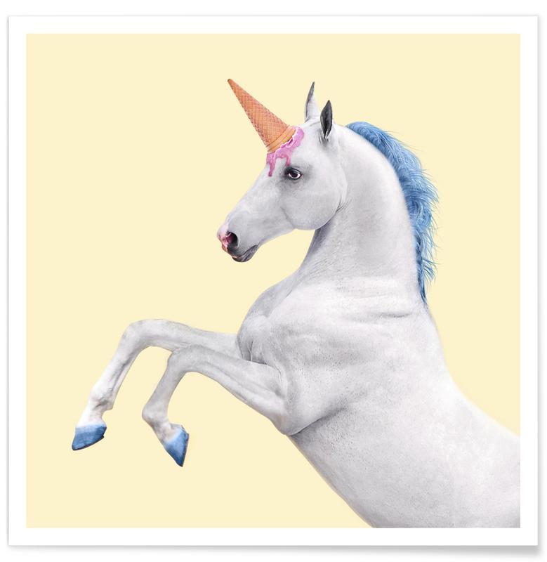 Heste, Børneværelse & kunst for børn, Pop art, Humor, Enhjørninger, Ice Cream Unicorn Plakat