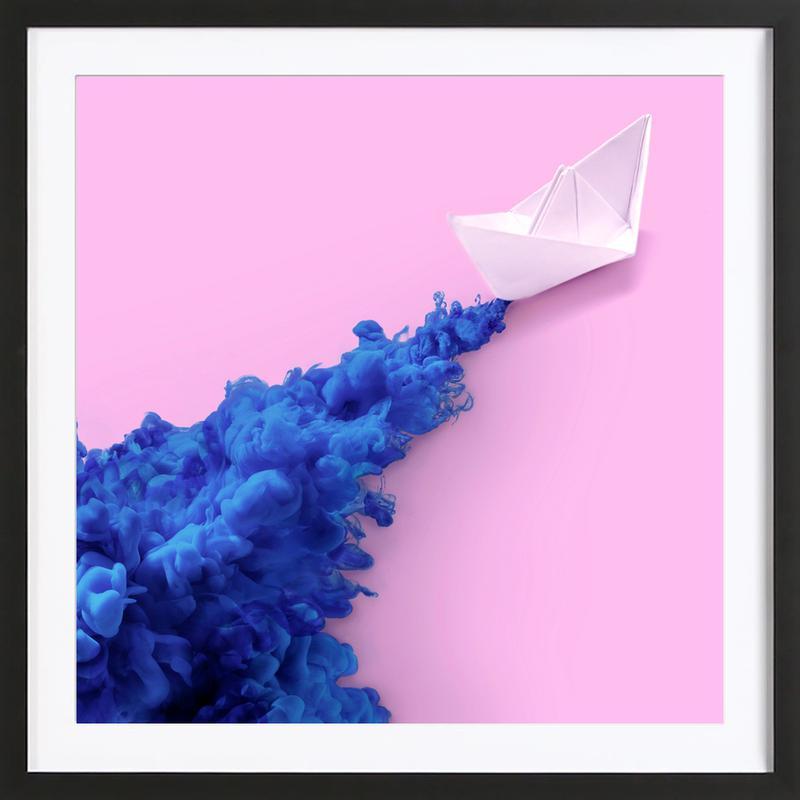 Paper Boat -Bild mit Holzrahmen