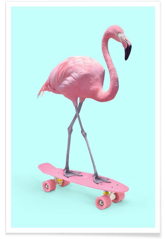 Børneværelse & kunst for børn, Flamingoer, Pop art, Humor, Skate Flamingo Plakat