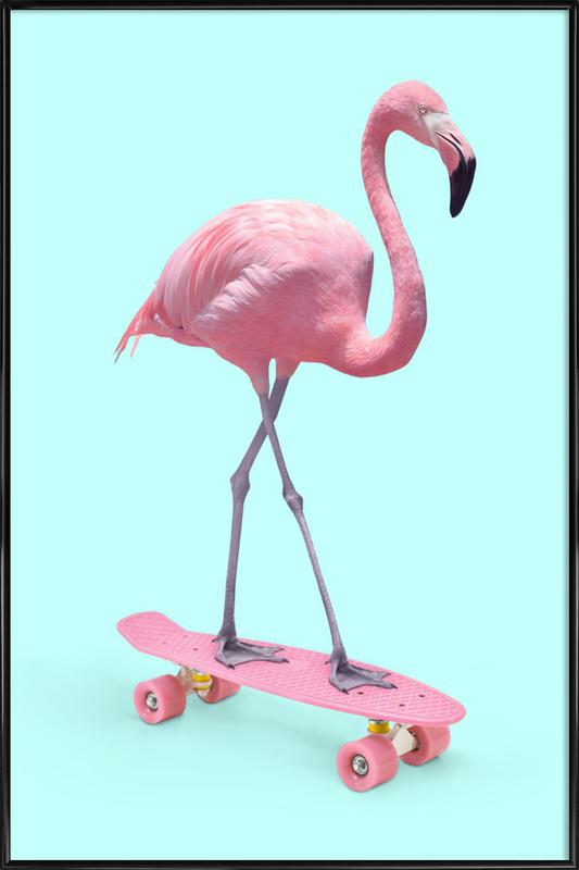 Skate Flamingo Framed Poster