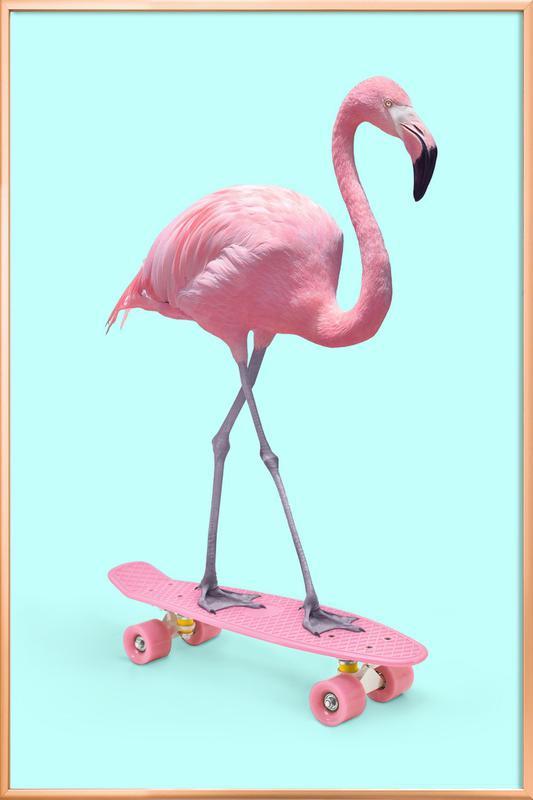 Skate Flamingo -Poster im Alurahmen