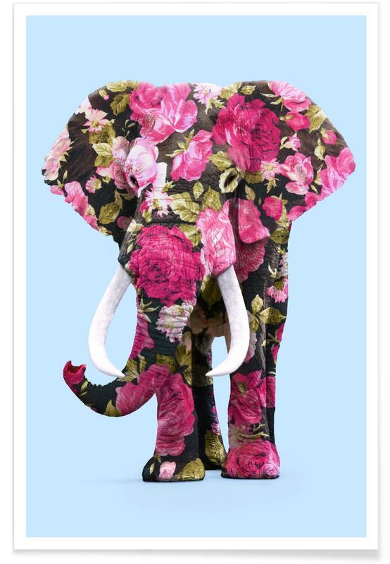 Safari Animals, Floral Elephant Poster