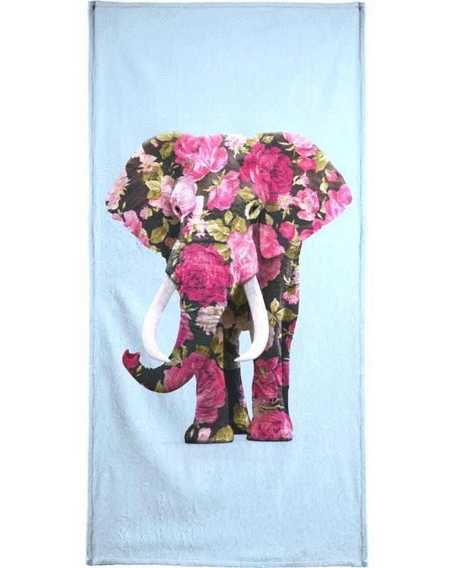 Safari Animals, Floral Elephant Bath Towel