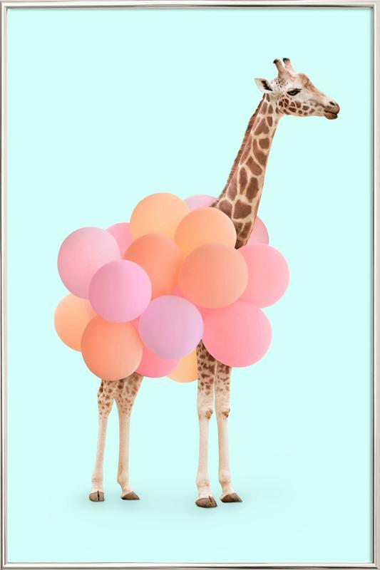 Party Giraffe -Poster im Alurahmen