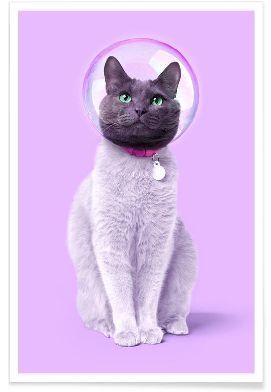 Børneværelse & kunst for børn, Katte, Astronauter, Space Cat Plakat