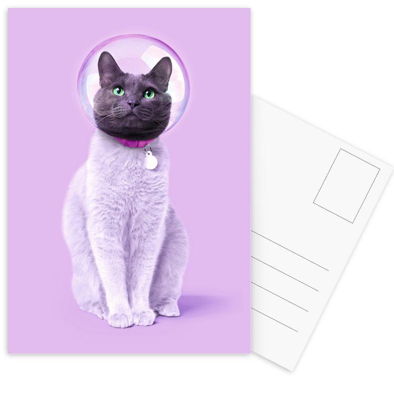 Kinderzimmer & Kunst für Kinder, Astronauten, Katzen, Space Cat -Postkartenset