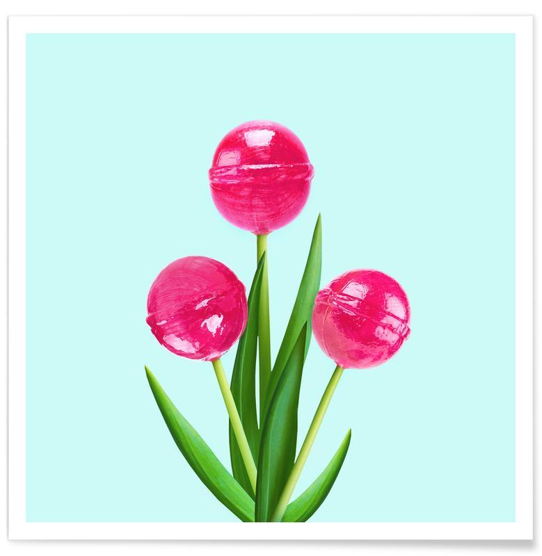 Slickepinnar, Barnkammar & konst för barn, Lollipop Tulips 1 Poster