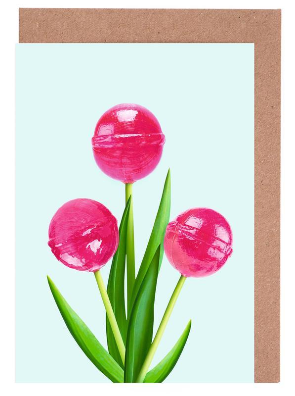 Kinderzimmer & Kunst für Kinder, Lollipops, Lollipop Tulips 1 -Grußkarten-Set