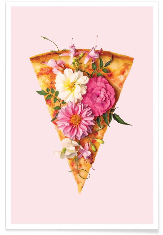 Pizza, Humor, Lykønskninger, Floral Pizza Plakat