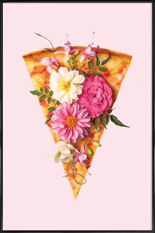 Floral Pizza Framed Poster