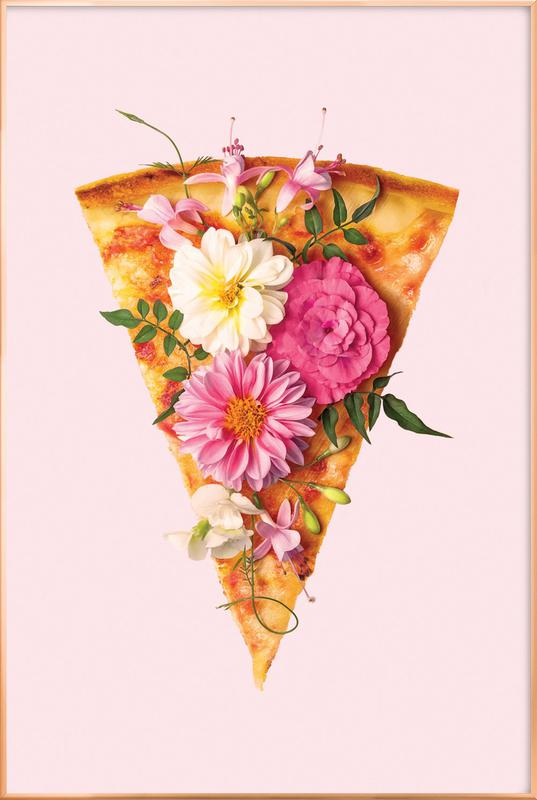 Floral Pizza Poster in Aluminium Frame
