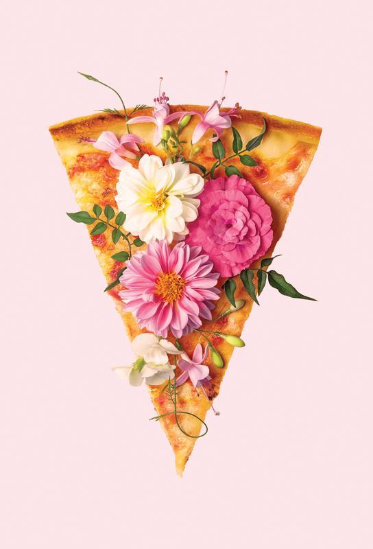 Floral Pizza Aluminium Print