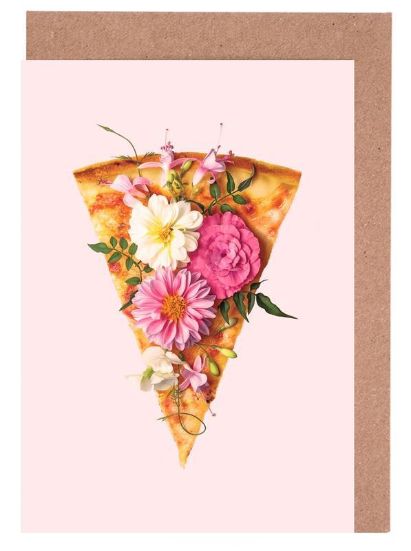 Floral Pizza -Grußkarten-Set