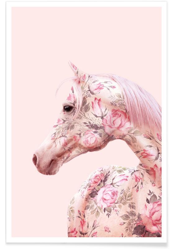 Pferde, Floral Horse -Poster