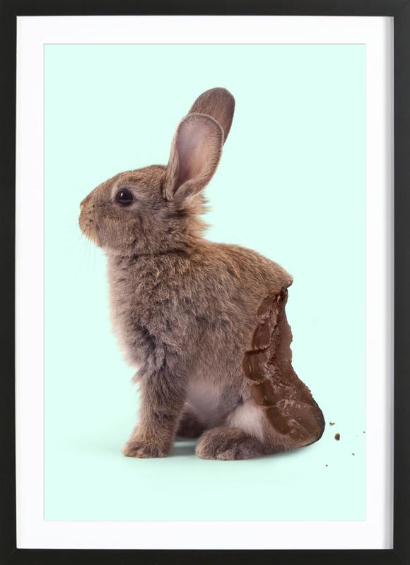 Chocolate Rabbit -Bild mit Holzrahmen