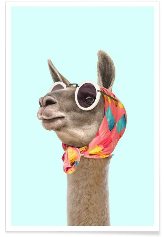 Lama, Børneværelse & kunst for børn, Fashion Llama Plakat
