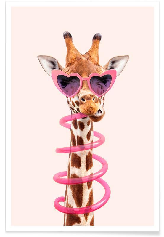 Børneværelse & kunst for børn, Giraffer, Humor, Thirsty Giraffe Plakat