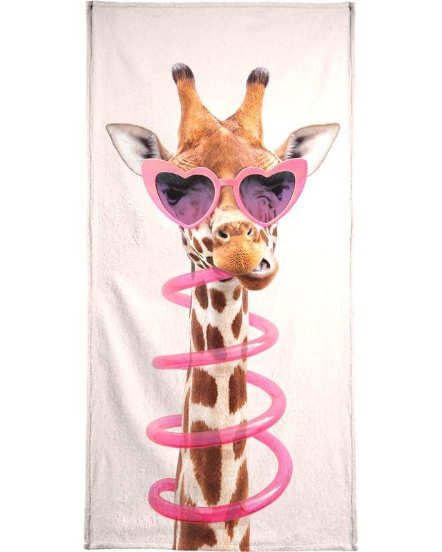 Nursery & Art for Kids, Funny, Giraffes, Thirsty Giraffe Bath Towel