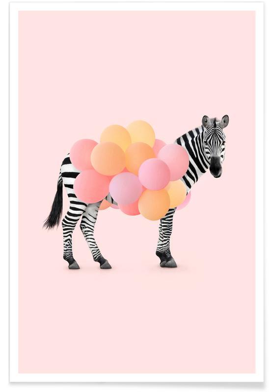 Børneværelse & kunst for børn, Zebraer, Humor, Zebra Balloon Plakat