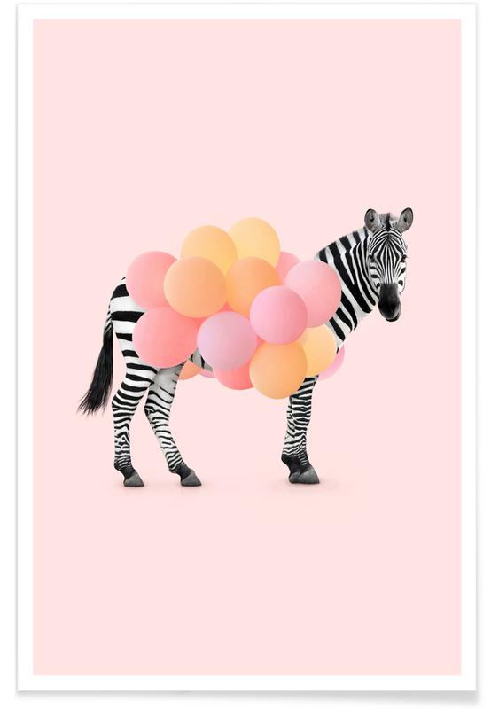 Kinderzimmer & Kunst für Kinder, Lustig, Zebras, Zebra Balloon -Poster