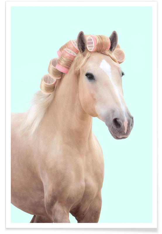 Cakes, Pop Art, Funny, Curly Horse Poster