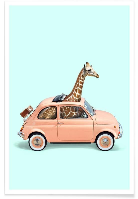 Pop Art, Kuchen, Lustig, Giraffe Car -Poster