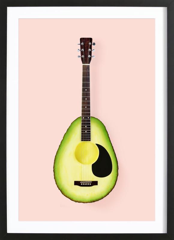Avocado Guitar -Bild mit Holzrahmen