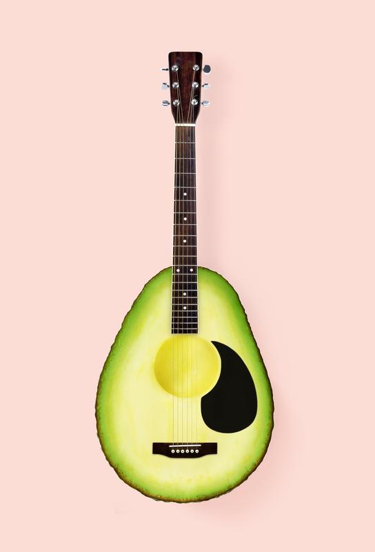 Avocado Guitar Aluminium Print