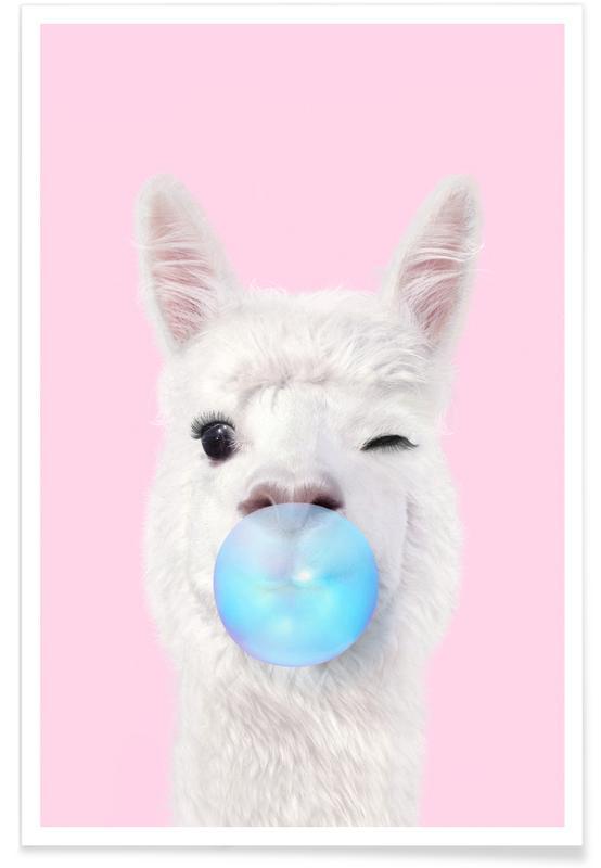 Popart, Taarten, Grappig, Bubblegum Lama poster