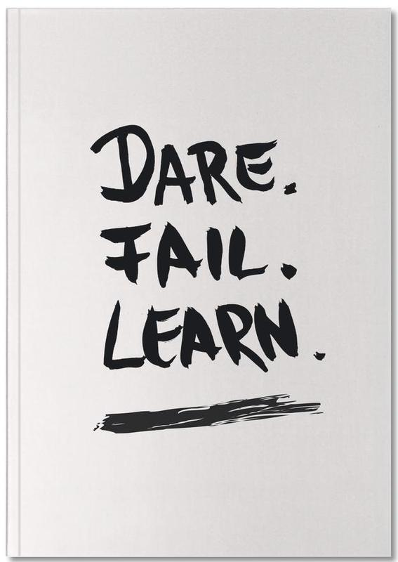 Black & White, Motivational, Quotes & Slogans, Dare. Fail. Learn. Notebook