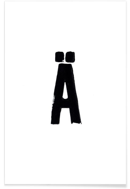 Alphabet et lettres, Noir & blanc, Ä affiche