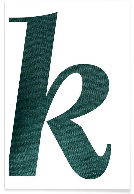 Alfabet en letters, Green K poster
