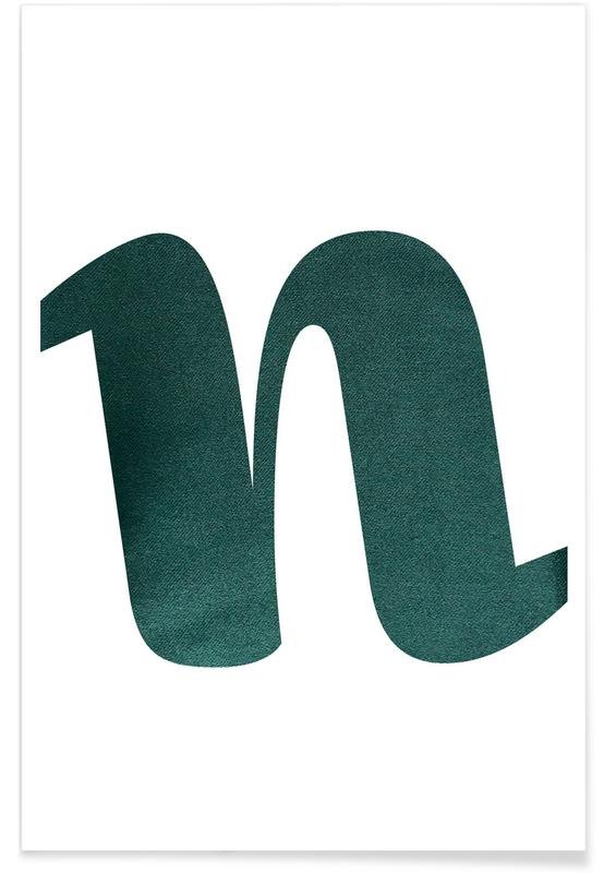 Alphabet et lettres, Green N affiche