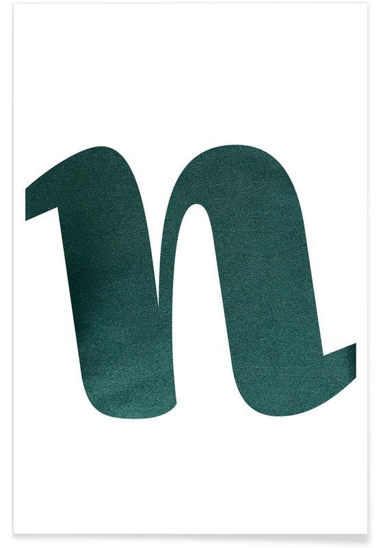Alfabet en letters, Green N poster