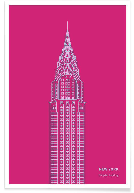 Monuments et vues, Gratte-ciels, New York, Empire State Building rose affiche