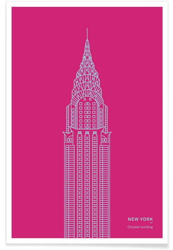 Sights & Landmarks, Skyscrapers & High-Rises, New York, Pink Chrysler Building Poster