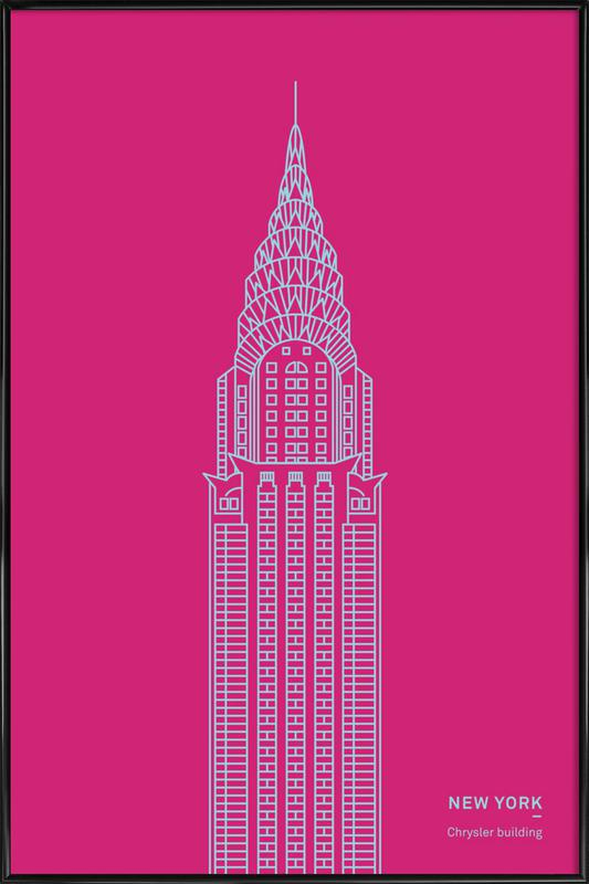 New York Pink -Bild mit Kunststoffrahmen