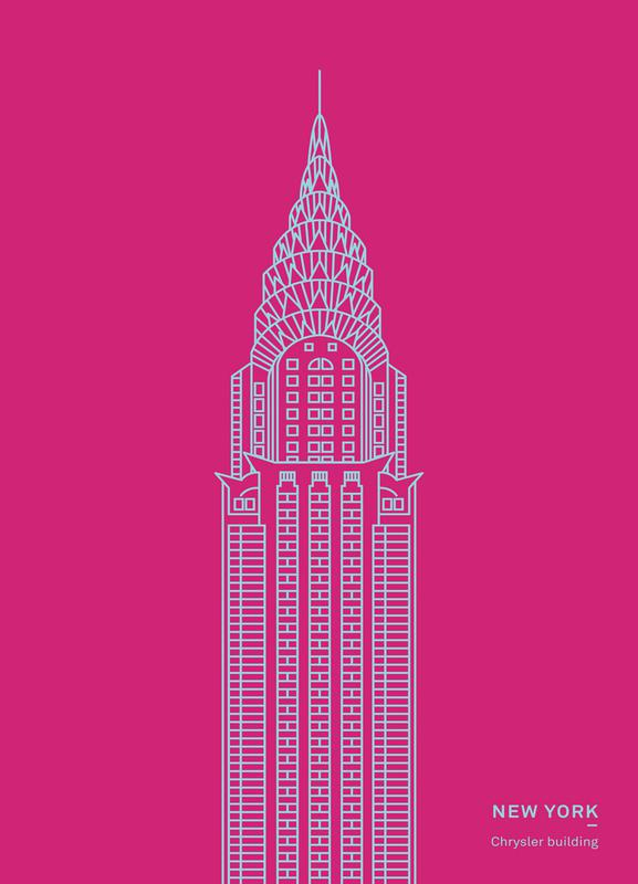 New York Pink canvas doek