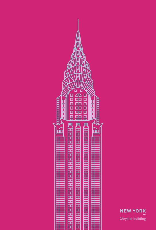 New York Pink Aluminium Print