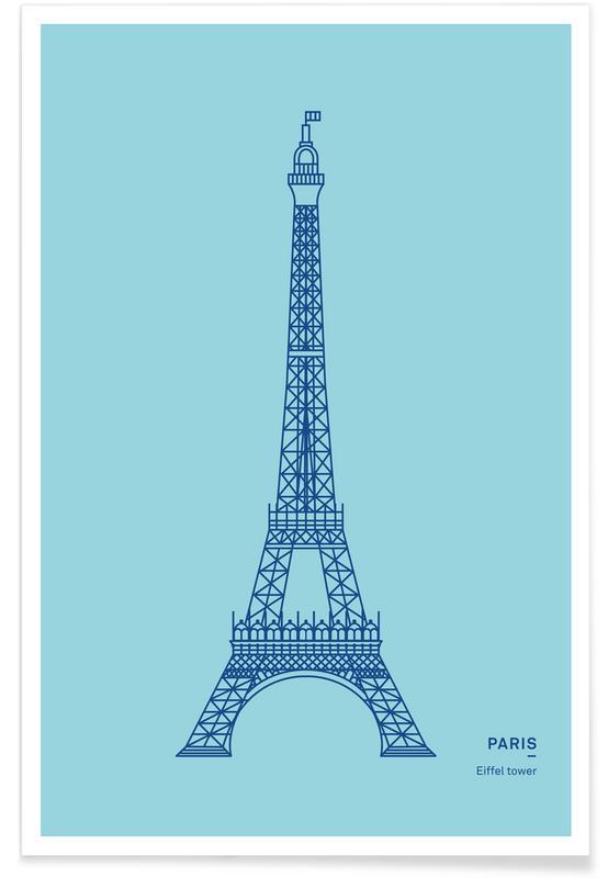 Paris, Sehenswürdigkeiten & Wahrzeichen, Eiffelturm-Blau -Poster