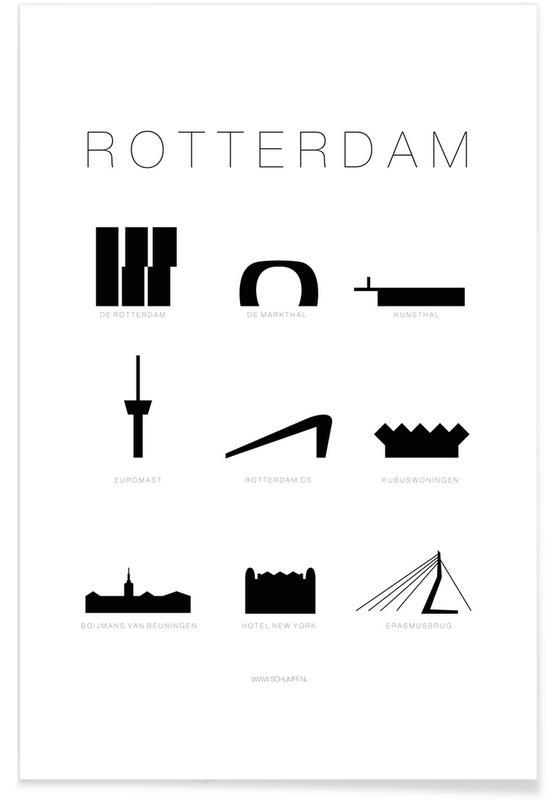 Schwarz & Weiß, Sehenswürdigkeiten & Wahrzeichen, Rotterdam -Poster