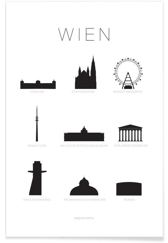 Noir & blanc, Vienne, Wien affiche