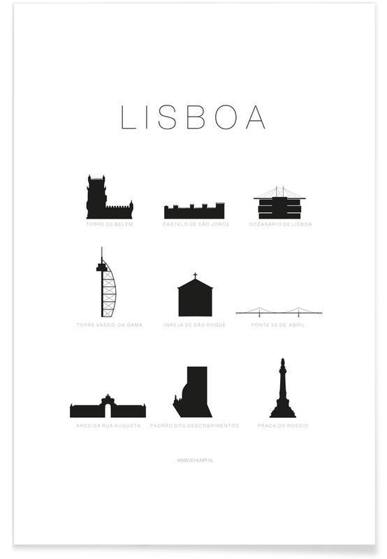 Sort & hvidt, Lissabon, Lisboa Plakat