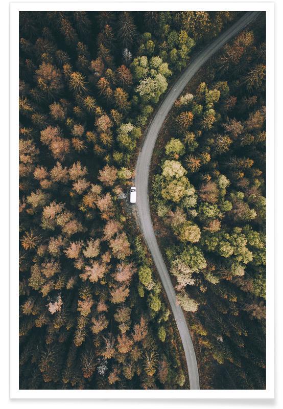 Forêts, Route forestière - Photo aérienne affiche