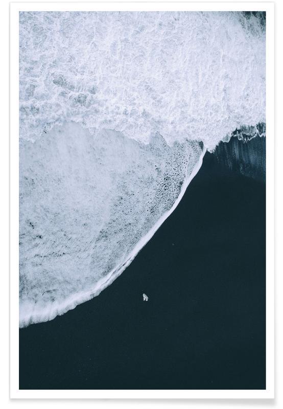 Black Beach Aerial Photograph Poster